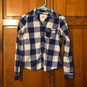Abercrombie Kids Flannel Size Large Blue and White